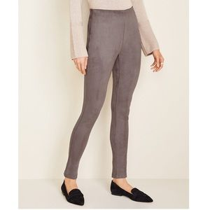 Ann Taylor Gray Faux Suede Seamed Legging Pants 4